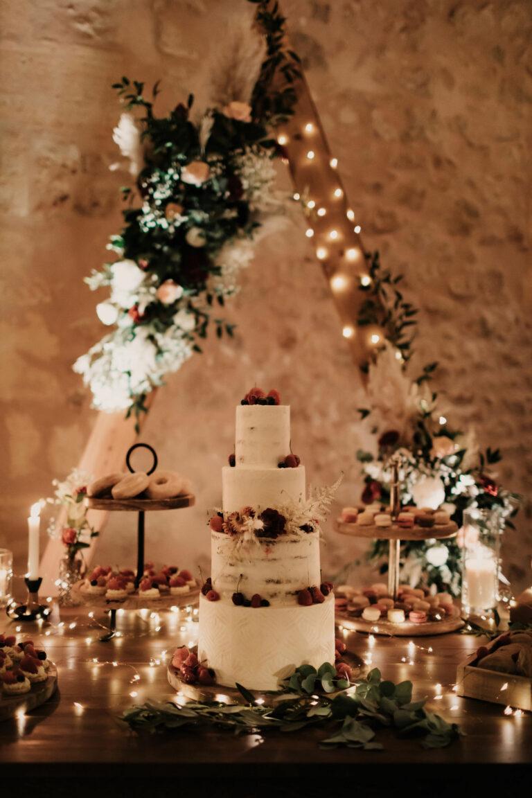 gâteau de mariage bohème en gironde